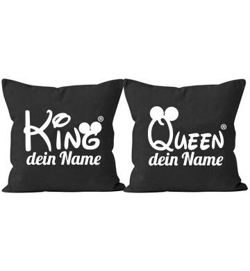 gestalte dein king und queen kissen mit deinem wunschnamen. Black Bedroom Furniture Sets. Home Design Ideas